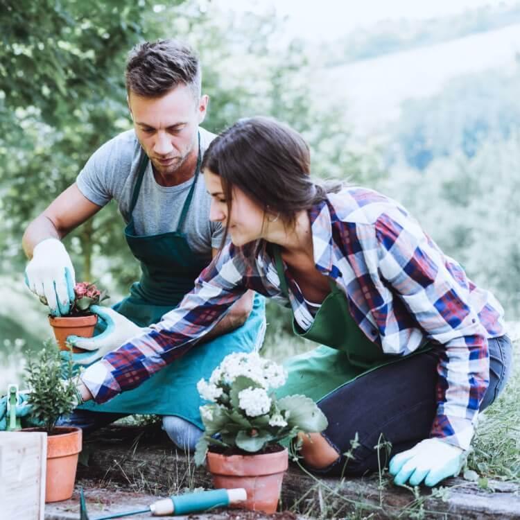 junges Paar bei Gartenarbeit